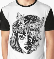 Portrait of the magic surreal witch girl with a head as night sky full of moth butterflies. Graphic T-Shirt
