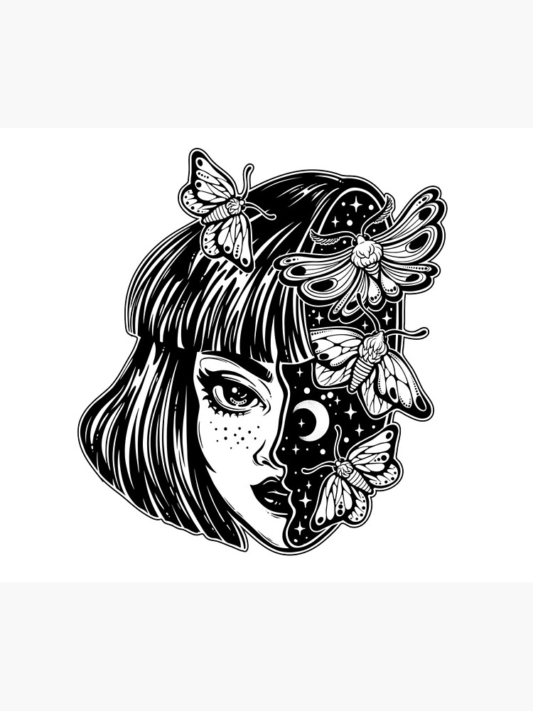Porträt des magischen surrealen Hexenmädchens mit einem Kopf als nächtlichem Himmel voll der Mottenschmetterlinge. von KatjaGerasimova