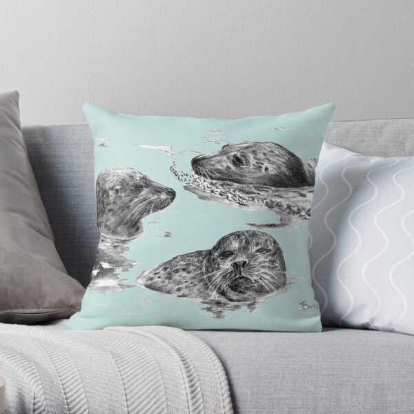 Harbor seals at Ile-aux-hares Throw Pillow