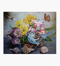 Chipping Sparrow with flowers, shells, bumble bee and butterfly Photographic Print
