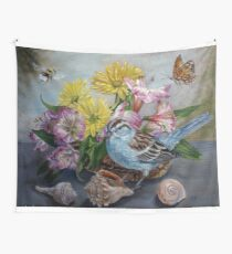 Chipping Sparrow with flowers, shells, bumble bee and butterfly Wall Tapestry