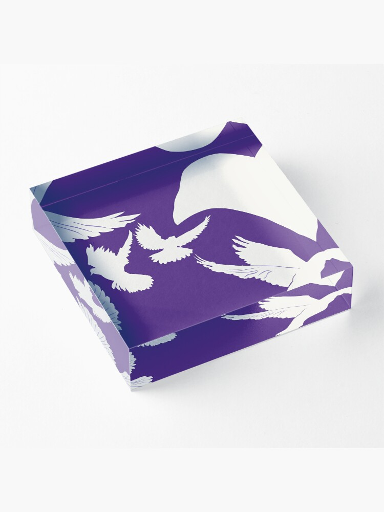 Alternate view of Doves in a Purple Sky Acrylic Block