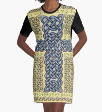 Celtic Cross and Roses Graphic T-Shirt Dress