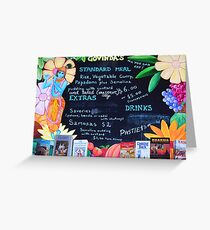 Hari Krishna Menu Board Two Greeting Card
