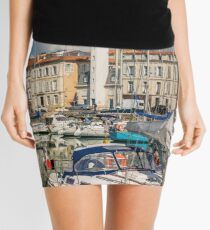 View of yachts in the old port, La Rochelle France Mini Skirt