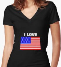 I love USA Women's Fitted V-Neck T-Shirt