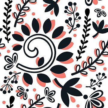 Vine and Leaf Motif Pattern (Black and Coral) by christinadesign
