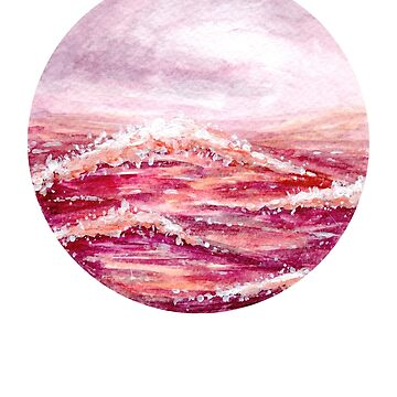 Pink Sea - Round - Watercolour Painting by patti2905