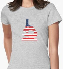Patriotic American Flag Microscope Design Women's Fitted T-Shirt