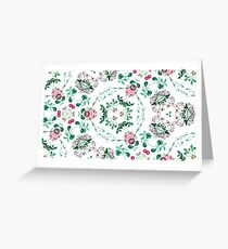 vintage colorful leaves color summer seamless retro green elegance repeat pattern Greeting Card