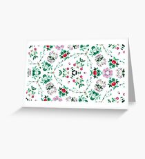 summer garden plant orchids ornament backdrop design flowers elegance green seamless colorful repeat pattern Greeting Card