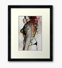 Koi No Yokan (erotic drawing, sexy tattoo girl in thong biting an apple) Framed Print