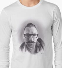 Realism Charcoal Drawing of Artist Damon Lucas Farkas Long Sleeve T-Shirt