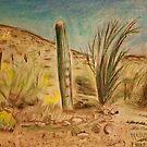 Arizona Saguaro Mountain Landscape by NiecyCatz
