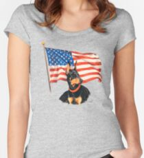 """""""Home of the Brave"""" Women's Fitted Scoop T-Shirt"""