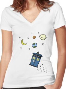 Little Tardis  Women's Fitted V-Neck T-Shirt