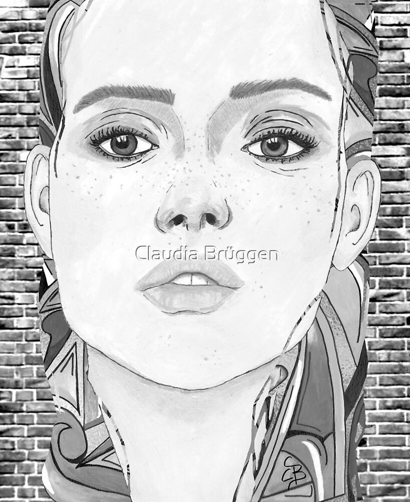 New York City Girl - black & white von Claudia Brüggen