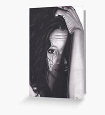 Realism Charcoal Drawing of Beautiful Woman from Honduras Greeting Card