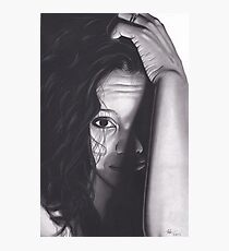 Realism Charcoal Drawing of Beautiful Woman from Honduras Photographic Print