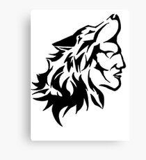 Native Warrior with Wolf Headdress Canvas Print