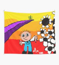 sunset on the horizon boy flowers tree Wall Tapestry
