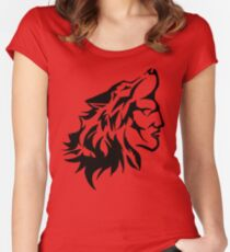 Native Warrior with Wolf Headdress Women's Fitted Scoop T-Shirt