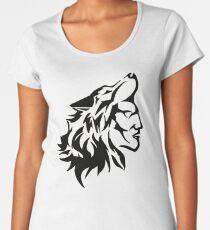 Native Warrior with Wolf Headdress Women's Premium T-Shirt
