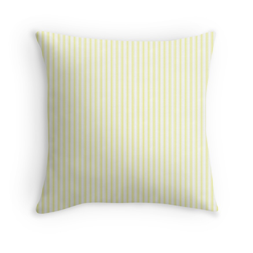 Pastel Limelight Yellow Mattress Ticking Narrow Striped Pattern - Fall Fashion 2018