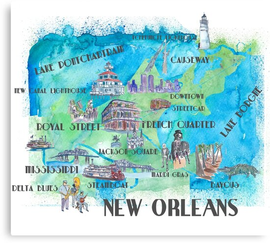 New Orleans Louisiana Favorite Map Travel Poster With Tourist