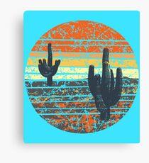 Weinlese-Kaktus-Sonnenuntergang Leinwanddruck