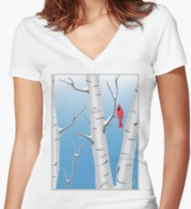 Cardinal in Birch Tree Women's Fitted V-Neck T-Shirt