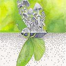 Green Cicada / Mushroom Watercolor Painting by Stephanie KILGAST