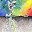 Rainbow Dragonfly / Mushroom Watercolor Painting by Stephanie KILGAST