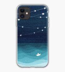 Garland of stars, teal ocean iPhone Case
