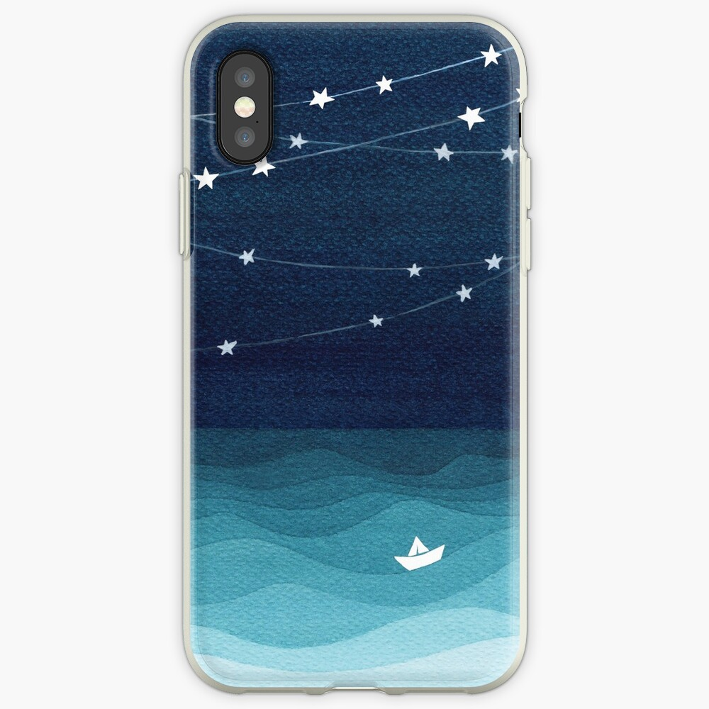 Garland of stars, teal ocean iPhone Case & Cover