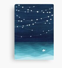 Garland of stars, teal ocean Canvas Print