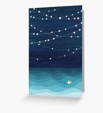 Tarjeta de felicitación Guirnalda de estrellas, océano verde azulado