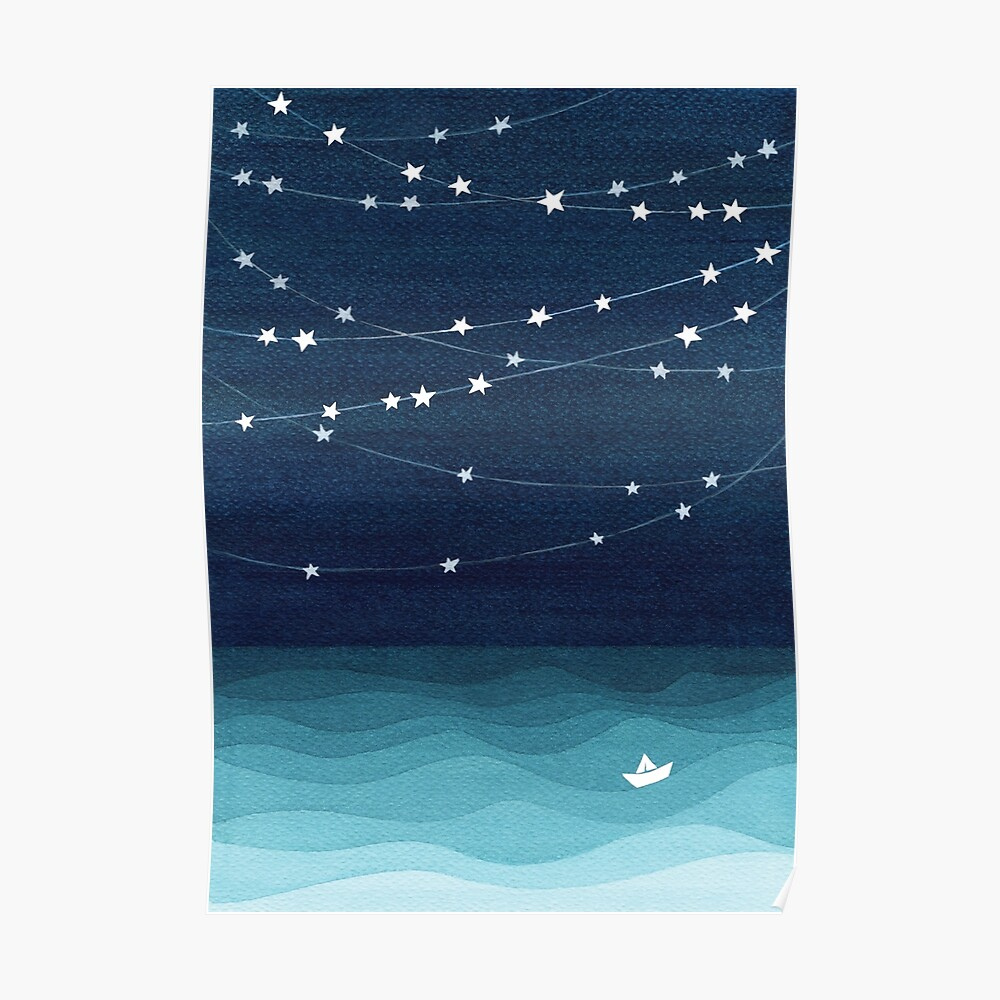 Garland of stars, teal ocean Poster