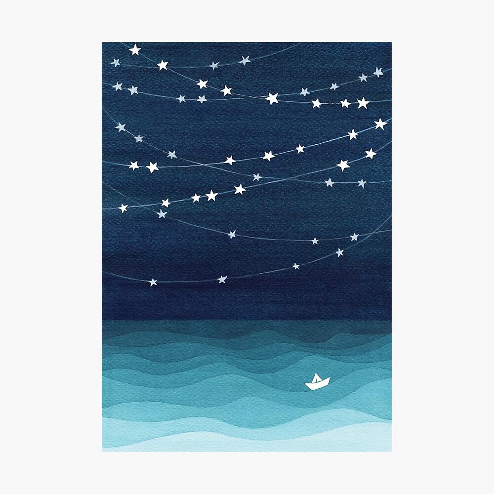 Garland von Sternen, aquamariner Ozean Fotodruck
