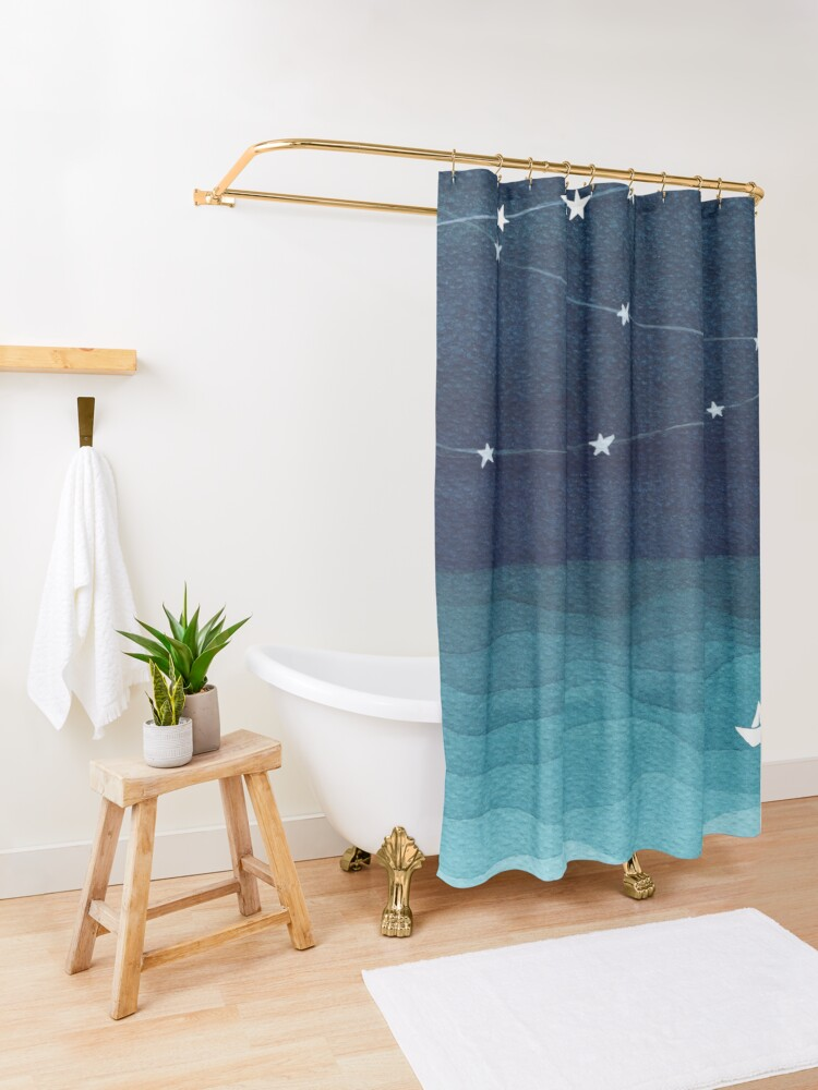 Alternate view of Garland of stars, teal ocean Shower Curtain