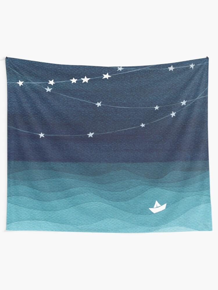 Alternate view of Garland of stars, teal ocean Wall Tapestry