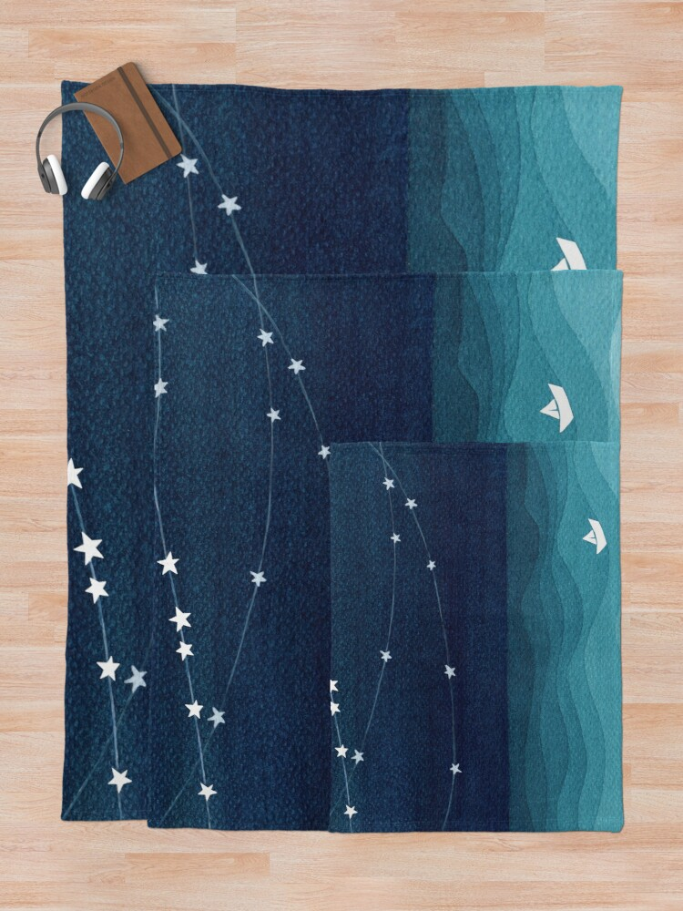 Alternate view of Garland of stars, teal ocean Throw Blanket