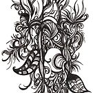 Tangled Bloom, Ink Drawing by Danielle Scott