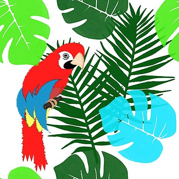 Tropical Leaves Parrot Jungle by Artification