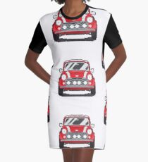 Red Classic Mini with white stripes Graphic T-Shirt Dress