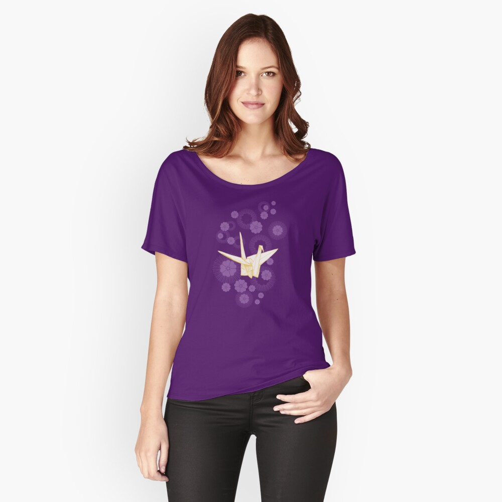 Paper Crane and Cherry Blossoms Relaxed Fit T-Shirt