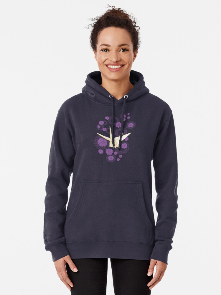 Alternate view of Paper Crane and Cherry Blossoms Pullover Hoodie