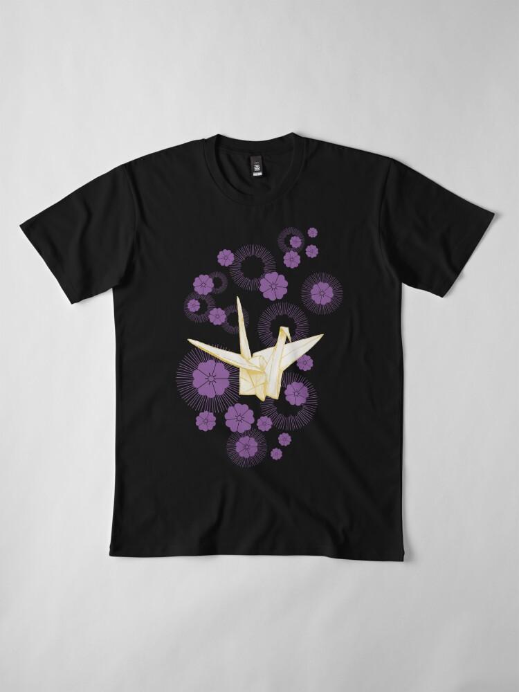 Alternate view of Paper Crane and Cherry Blossoms Premium T-Shirt