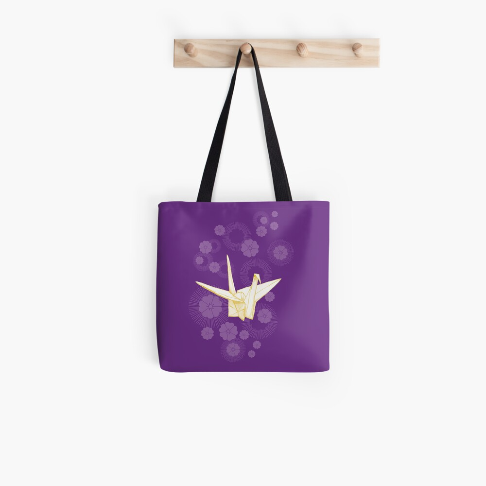 Paper Crane and Cherry Blossoms Tote Bag