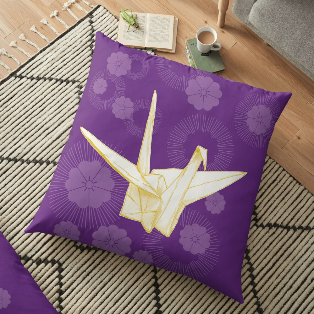 Paper Crane and Cherry Blossoms Floor Pillow